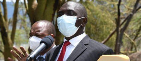 Government spokesman Cyrus Oguna speaking in Nakuru on November 5, 2020.