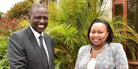 Deputy President William Ruto poses for a photo with Jubilee Nominated Senator Millicent Omanga in 2017