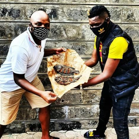 From left: Comedians Felix Odiwour (Jalang'o) and Owago Onyiro pose for a photo before cooking a meal on Jalaang'os YouTube Show Bonga na Jalas on Monday, May 4, 2020