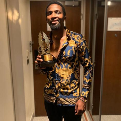 Pascal Tokodi poses with his Best Supporting Actor Award on March 14, 2020.