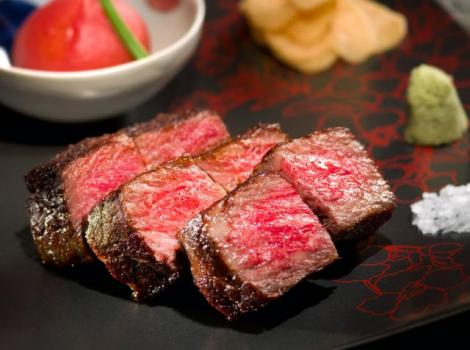 Pieces of cooked wagyu steak