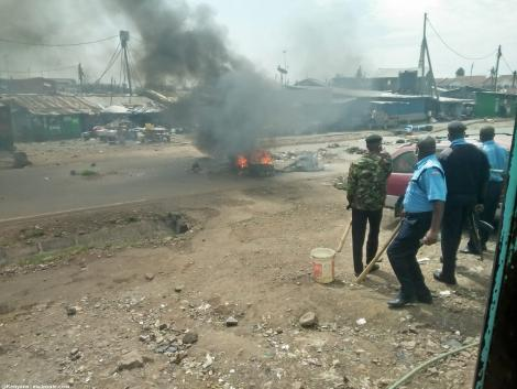 Police in action at Maringo area in South B following fiery demonstrations, May 14, 2020.