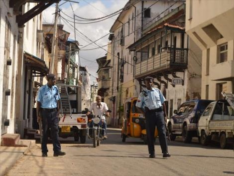 Police patrols at old town streets in Mombasa on October 6th 2016.