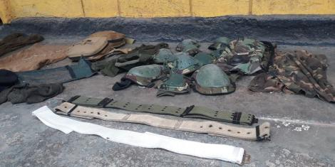Police regalia recovered at a private homestead in Nakuru County