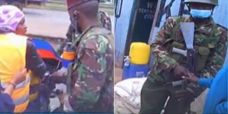 Rogue police officers caught on camera receiving bribes from Eastleigh residents on Monday, May 11, 2020