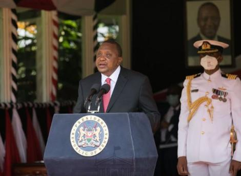 President Uhuru Kenyatta giving his Madaraka Day Address at State House on June 1, 2020.