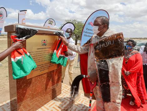 President Uhuru Kenyatta presides over the unveiling of a landmark declaration to end female genital mutilation (FGM) and child marriages among the community at Kisima Grounds in Samburu County on March 5, 2021