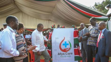 President Uhuru Kenyatta (third left) with other leaders during the launch of the Universal Health Care programme in Kisumu in December 2018.