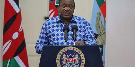 President Uhuru Kenyatta addresses the country concerning the coronavirus outbreak, at State House, Nairobi, on March 25, 2020.