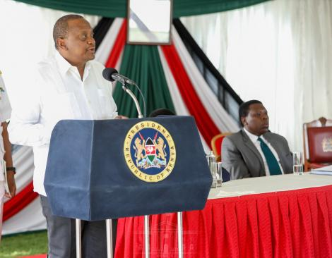 President Uhuru Kenyatta addressing officials during a ceremony at State House, Nairobi on March 18, 2020.
