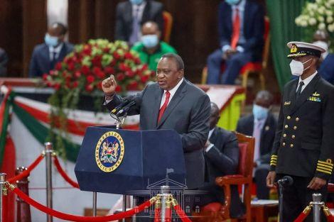 President Uhuru Kenyatta addressing the delegates at Building Bridges Initiative report launch on October 26, 2020.