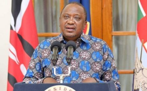 President Uhuru Kenyatta addressing the media from State House in Nairobi.