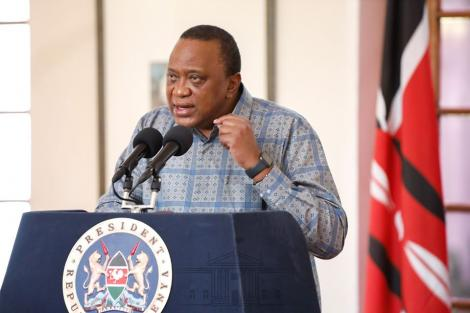President Uhuru Kenyatta addressing the nation from State House Nairobi on April 25, 2020.