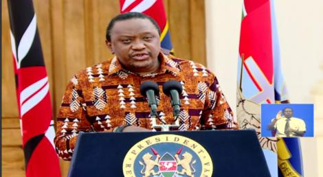 President Uhuru Kenyatta addressing the nation on August 26, 2020.