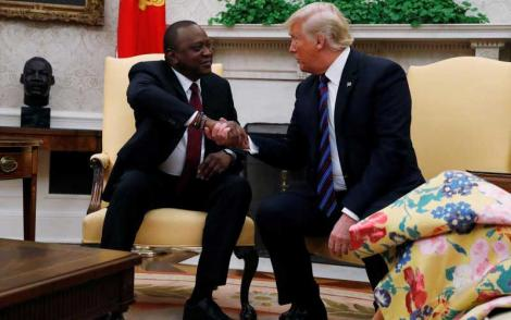 President Uhuru Kenyatta and US President Donald Trump during a meeting in the Oval Office at the White House in Washington on August 27, 2018.