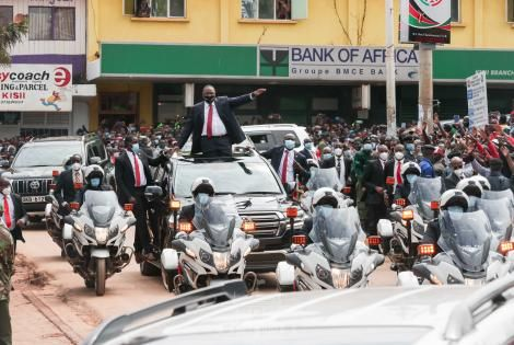President Uhuru Kenyatta arrives in Kisii on Mashujaa Day October 20, 2020.