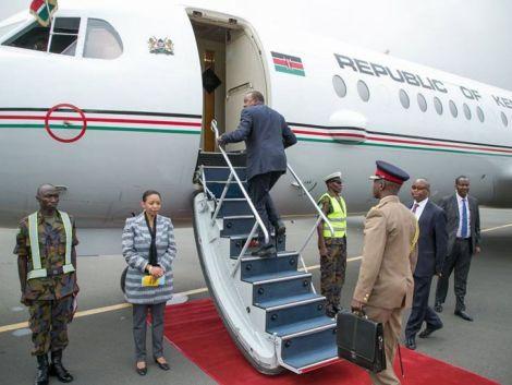 President Uhuru Kenyatta on a plane