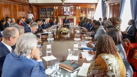 President Uhuru Kenyatta chairing the meeting with key sponsors at State House on March 3, 2020.