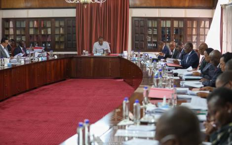 President Uhuru Kenyatta chairs a Cabinet meeting at State House Nairobi on March 19, 2020.