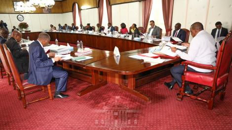 photo of President Uhuru Kenyatta chairing a Cabinet meeting at State House Nairobi on March 19, 2020.
