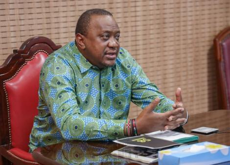 President Uhuru Kenyatta during a video conference at State House on Wednesday, April 1.