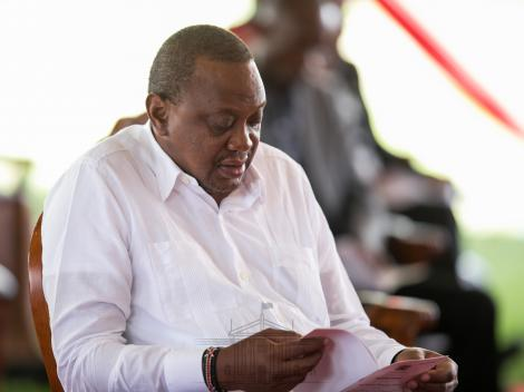 President Uhuru Kenyatta at State House, Nairobi, where he hosted national prayers against the Coronavirus pandemic on March 21, 2020.