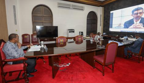 President Uhuru Kenyatta in a virtual meeting with Google CEO Sundar Pichai on January 28, 2021