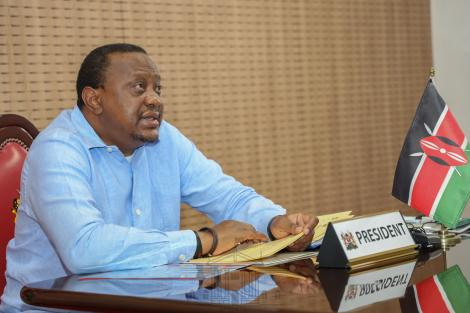 President Uhuru Kenyatta pictured during the 5th Extra-Ordinary summit on July 27, 2020.