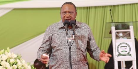 President Uhuru Kenyatta speaks during the funeral service for Mama Hannah Mudavadi at Mululu village in Vihiga County