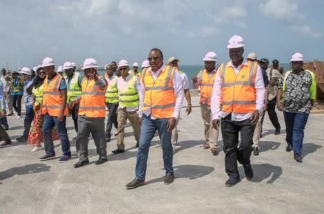 President Uhuru Kenyatta touring the Lamu Port on September 8, 2019.