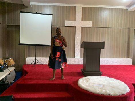 Rachel Ruto at Deputy President William Ruto's Karen home hosting Covid-19 prayers on April 26, 2020