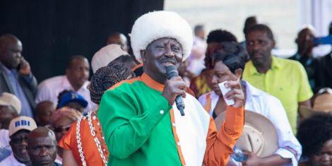 ODM leader Raila Odinga speaks at Meru BBI rally on February 29, 2020