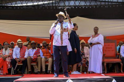 Raila Odinga addresses residents of Narok county during the BBI rally on February 22, 2020.