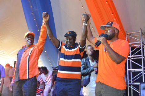 Raila Odinga (center), Kakamega governor Wycliffe Oparanya and Mombasa Governor HassaN Joho