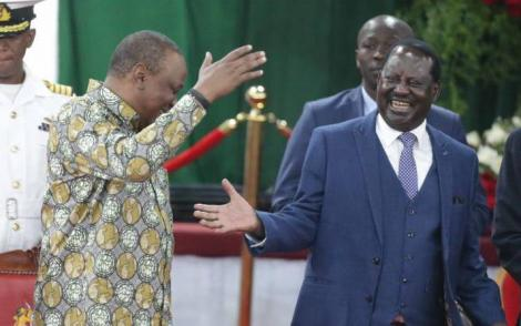 President Uhuru Kenyatta and ODM leader Raila Odinga at Bomas of Kenya