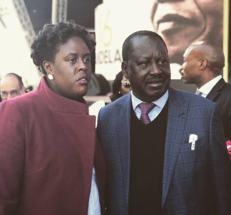 ODM Leader Raila Odinga (right) and his daughter Winnie Odinga.