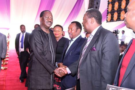 Former Prime Minister Raila Odinga greets ANC leader Musalia Mudavadi in Tigoni, Kiambu County, on Tuesday, March 3, 2020.