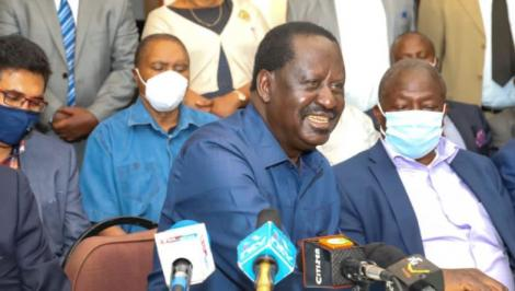 ODM leader Raila Odinga addressing a press conference on Monday, November 23, 2020.