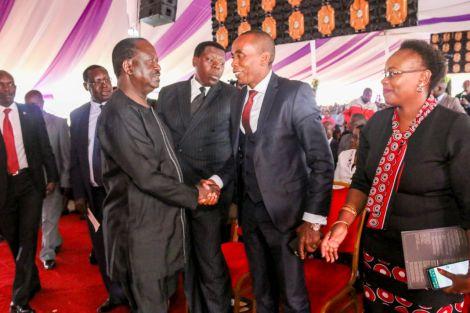 Orange Democratic Movement (ODM) leader Raila Odinga shakes hands with Kiambu Senator Kimani Wamatangi in Tigoni, Kiambu on February 3, 2020
