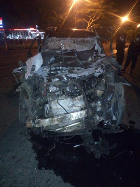 A scene of the road accident involving former Kenya 7's star, the late Allan Makaka at Mombasa Road, on Friday night, May 22, 2020