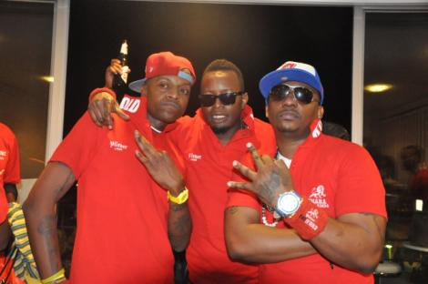 Rappers Abbas (Left) and Bamboo (Right) pose alongside MC Budha Blaze (Centre)