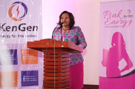 File image of Kengen MD Rebecca Miano addressing a past event
