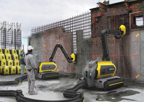 Robots pictured in use at a construction site in the United States