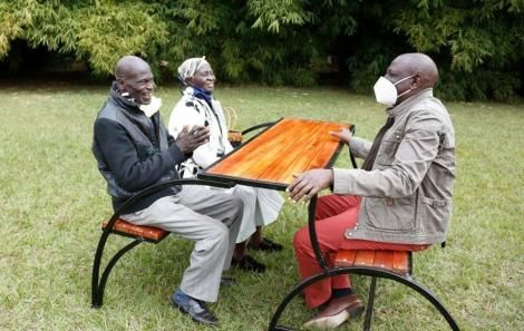Deputy President William Ruto (Right) with Kamunyu Wambugu and Isabella Wanjiru on July 21, 2020