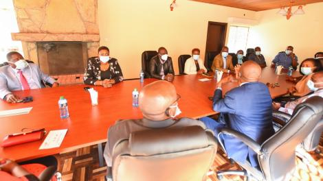 Deputy President William Ruto in a meeting with de-whipped Jubilee legislators in Nairobi on June 18, 2020