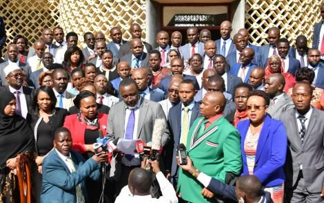 A photo of Ruto-allied lawmakers led by Meru Senator Mithika Linturi during a press briefing at Parliament Buildings on Wednesday, March 11, 2020