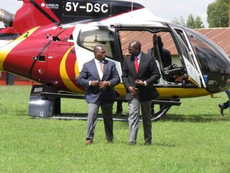 Deputy President William Ruto arrives at a past function in a chopper