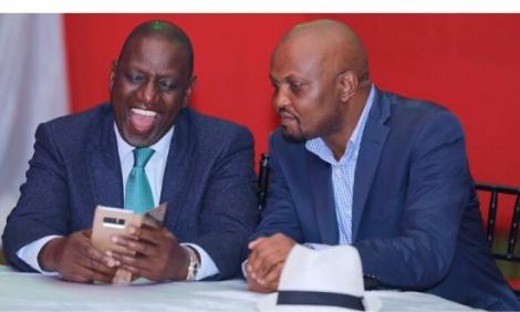 Deputy President William Ruto (left) with Gatundu South MP Moses Kuria at a private wedding at Greens Golf Resort, Thika on Friday, November 29, 2019.