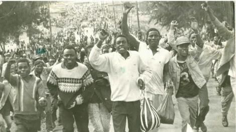 Demonstrators pictured in Nairobi during the first ever Saba Saba rally on July 7, 1990