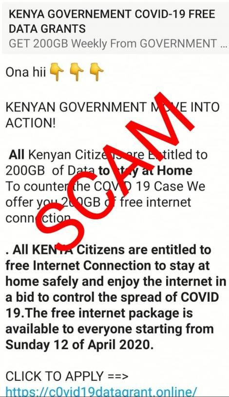 An example shared by the DCI as a work of scammers luring Kenyans before stealing their data.